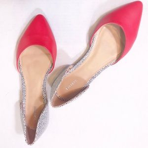 Express Red, Spotted Black On White, Pointed Flats
